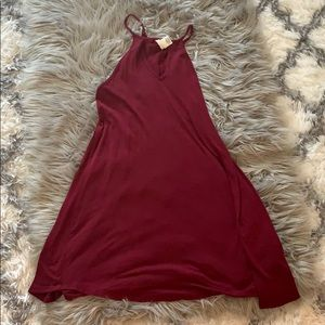 Maroon skater dress with high neck cut out